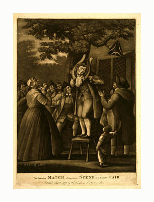 Applause Drawing - The Grinning Match, A Humourous Scene At A Country Fair by English School