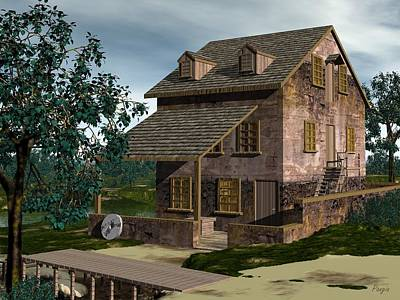 Digital Art - The Gristmill - Batsto N J by John Pangia
