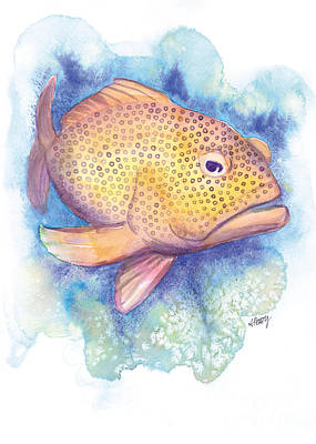 Painting - The Grumpy Grouper by Audrey Peaty