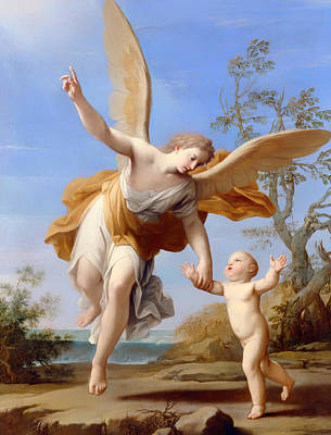 Religious Artwork Painting - The Guardian Angel by Mountain Dreams