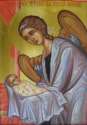 Byzantine Painting - The Guardian Angel Soul by Olga Krasanaki