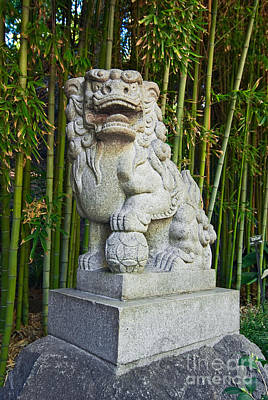 Stone Balls Photograph - The Guardian - Chinese Guardian Lion Statue With A Bamboo Backdrop. by Jamie Pham