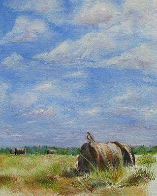 Haybales Painting - The Guardian by Joan Senkowicz