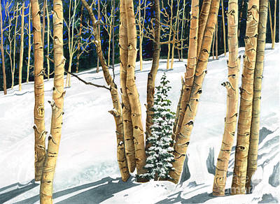Ski Painting - The Guardians by Barbara Jewell
