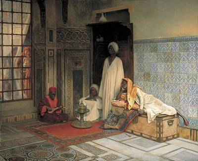 The Guards Of The Harem  Art Print by Ludwig Deutsch