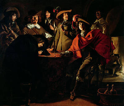 The Guards Smoking, 1643 Oil On Canvas Art Print by Louis Le Nain