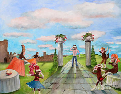 Painting - The Guest Arrives At The Masquerade On A Partly Cloudy Day by Randy Burns