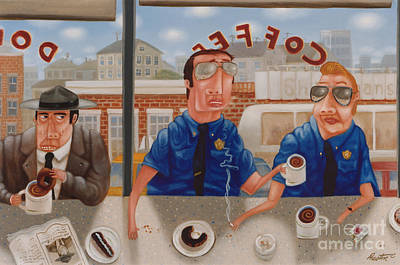 Donuts Painting - The Guilty Guy 1993 by Larry Preston