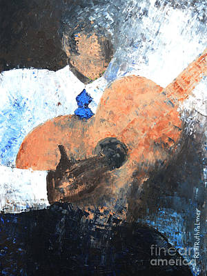 Guitare Painting - The Guitar Player by Roni Ruth Palmer