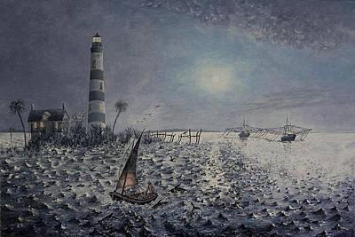 Gullah Painting - The Gullah Fisherman by Richard Barham