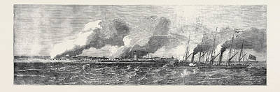Pincher Drawing - The Gun Boats Pincher And Snap Attacking The Forts by English School