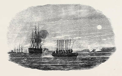 Thistle Drawing - The Gun Boats Thistle  And Weasel  Cutting Out Trading Craft by English School