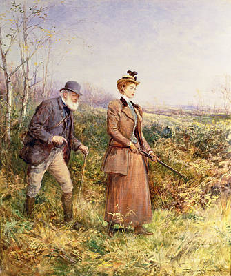 Heath Painting - The Gun Shot by Heywood Hardy