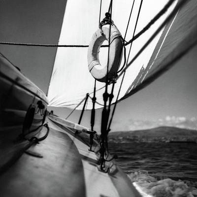 Ropes Photograph - The Gunwale Of A Sailboat by George Platt Lynes