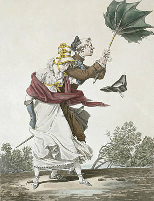 Shawl Drawing - The Gust Of Wind by Antoine Charles Horace Vernet
