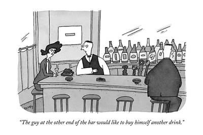 Flirtation Drawing - The Guy At The Other End Of The Bar Would Like by Peter C. Ve