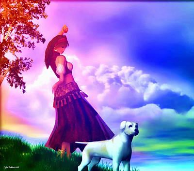 Gypsy Mixed Media - The Gypsy And Her Dog Gypsy by Tyler Robbins