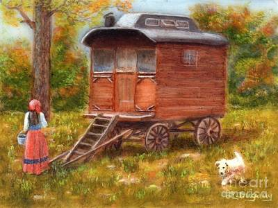 Painting - The Gypsy Caravan by Lora Duguay