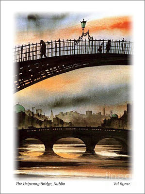 Painting - Dublin  The Ha Penney Bridge by Val Byrne