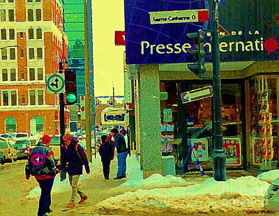 Montreal Winter Scenes Painting - The Habs Fan Hockey Jacket Maison De La Presse Internationale Librairie Downtown Mtl Scene C Spandau by Carole Spandau