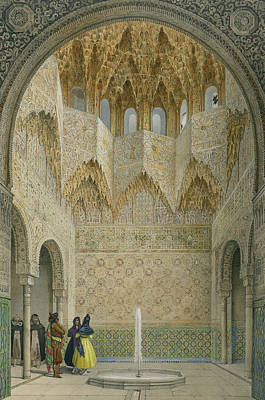Intricate Drawing - The Hall Of The Abencerrages by Leon Auguste Asselineau