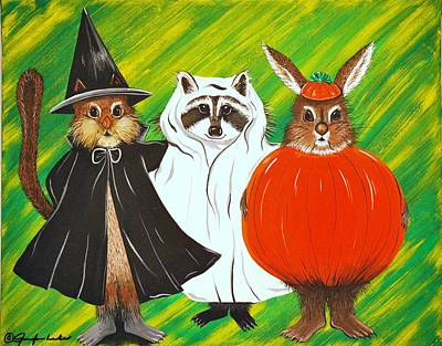 Painting - The Halloween Gang by Jennifer Lake