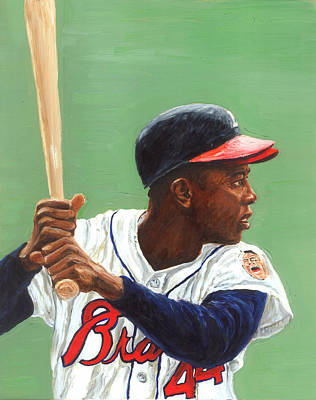Baseball Players Painting - The Hammer by Rudy Browne