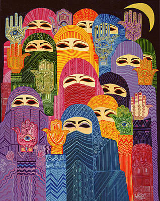 Hamsa Photograph - The Hands Of Fatima, 1989 Oil On Canvas by Laila Shawa