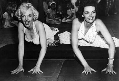 Marilyn Monroe And Jane Russell  Art Print by Retro Images Archive