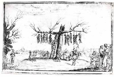 Sepia Ink Drawing - The Hangmans Tree by Imitator of Jacques Callot