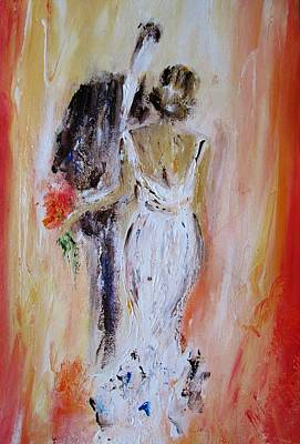 First Couple Painting - The Happy Couple by Mary Cahalan Lee- aka PIXI