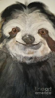 Sloth Painting - The Happy Sloth by Kelly Williams