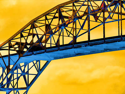 Digital Art - The Harbor Bridge Corpus Christi Texas Mostly Sunny by Wendy J St Christopher