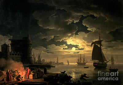 Moonlit Night Painting - The Harbor Of Palermo by Claude Joseph Vernet