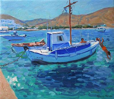 Painting - The Harbor  Tinos by Andrew Macara