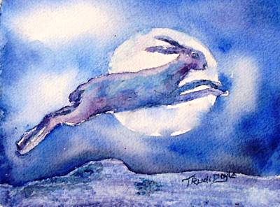 Moonlight Painting - The Hare And The Moon  by Trudi Doyle