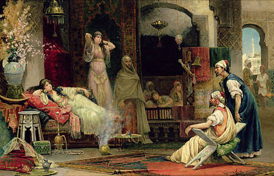 Concubine. Harem Girl Painting - The Harem by Juan Gimenez y Martin