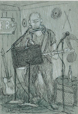 Musicians Drawings - The Harp Player by Arthur Barnes