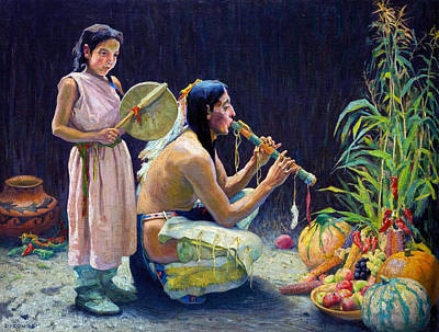 Indian Princess Photograph - The Harvest Song by Eanger Irving Couse