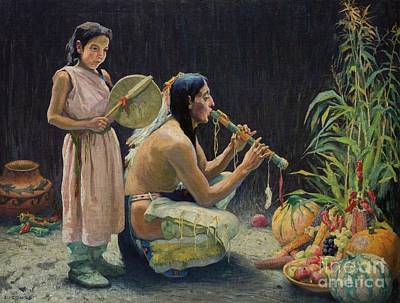 Indian Tribal Art Painting - The Harvest Song by Celestial Images
