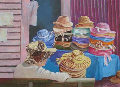 Painting - The Hat Buyer by Tony Caviston