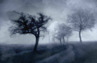 Grey Clouds Drawing - The Haunted Road by Steve K