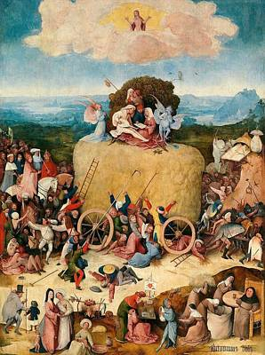 The Hay Wagon - Central Panel Art Print by Hieronymus Bosch