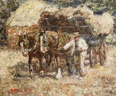 Shire Horse Painting - The Hay Wagon by Harry Fidler
