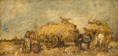 Hayfield Painting - The Hayfield by  Adolphe Monticelli