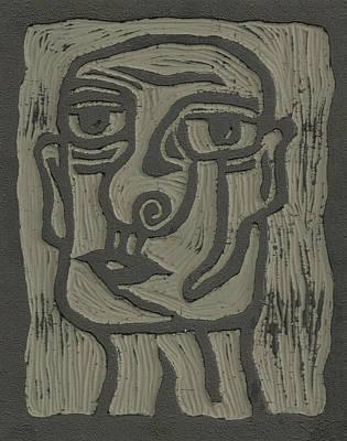 The Head Linoleum Block Carving Art Print by Shawn Vincelette
