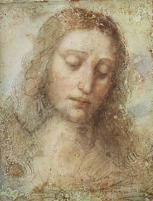 Religious Art Digital Art - The Head Of Christ by Leonardo da Vinci