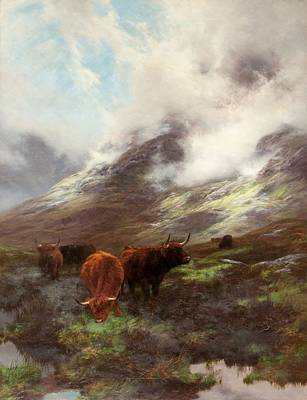 Mountainous Painting - The Head Of The Glen, 1894 by Peter Graham