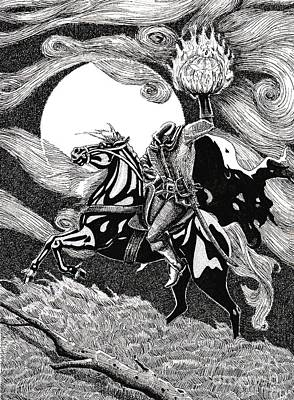 Headless Horseman Drawing - the Headless Horseman by Margaret Schons