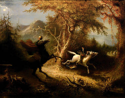 The Headless Horsemen Pursuing Ichabod Crane Art Print by Mountain Dreams